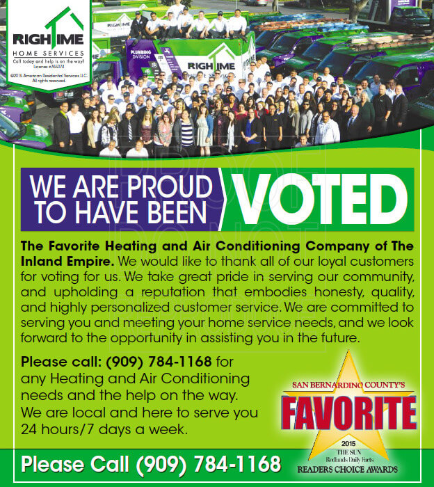 RighTime Voted as the favorite Heating and Air Conditioning Company in The Inland Empire
