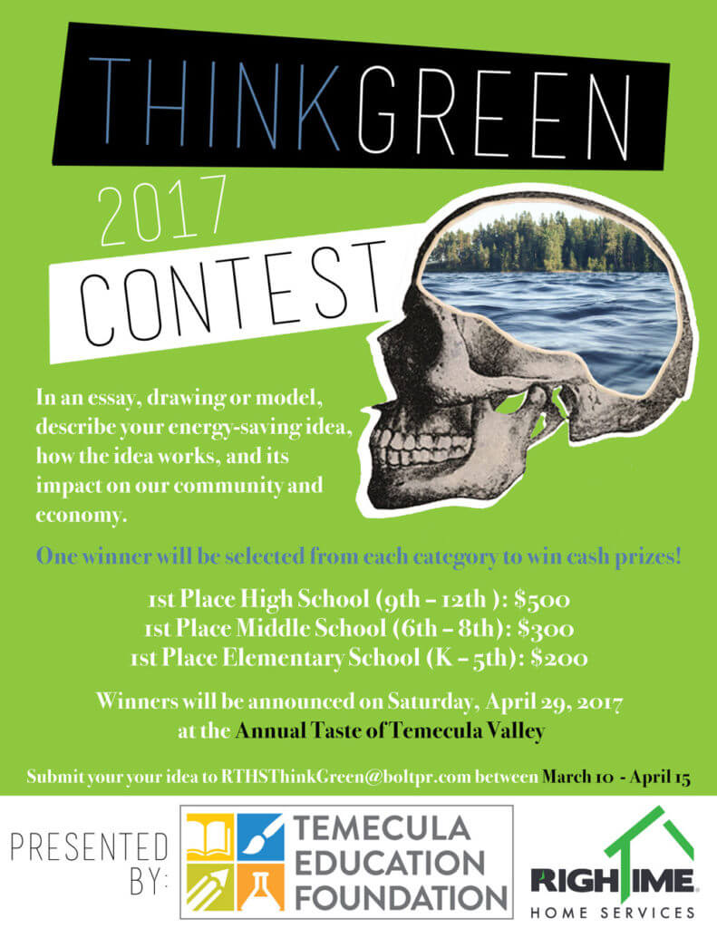 """RighTime® Home Services Partners with the Temecula Education Foundation for Annual Contest Encouraging Students to """"Think Green"""""""